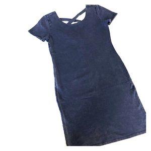 Blue distressed dress